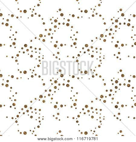Pattern With Gold Glitter Textured Circles Confetti On White Background.