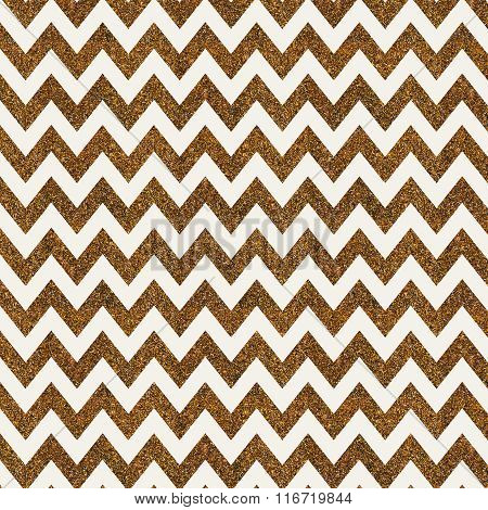 Pattern With Gold Glitter Textured Chevron On White Background.