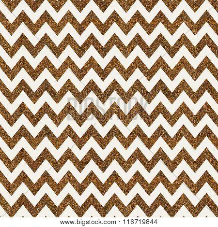 Pattern With Gold Glitter Textured Chevron On White Background.