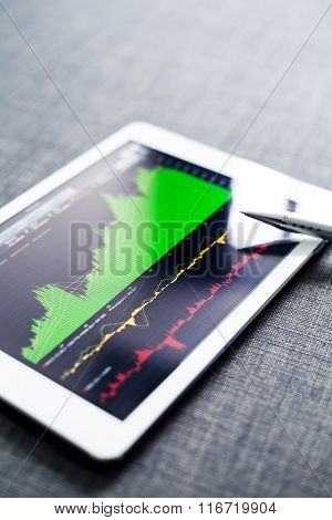 Tablet computer with stock market graph