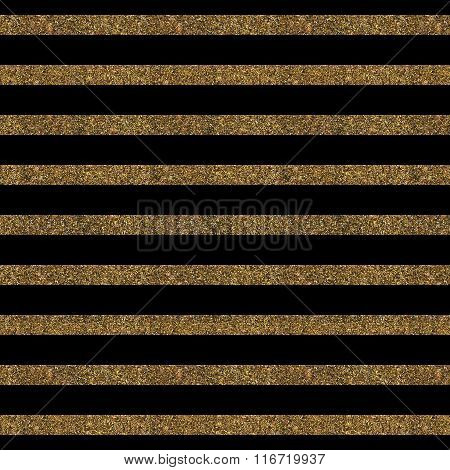 Pattern With Gold Glitter Textured Lines On Black Background.
