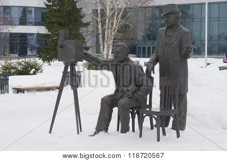 Monument To The Lumiere Brothers In Winter Day