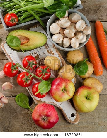 Healthy Vegetables And Fruits.