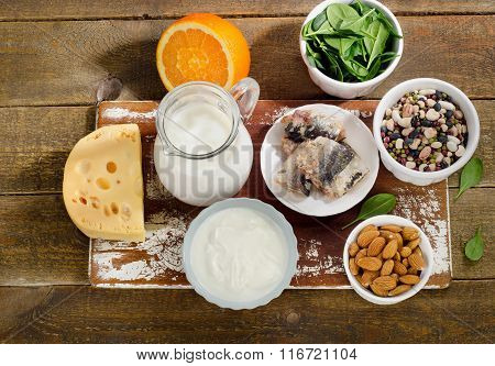 Foods Highest In Calcium On Wooden Background.