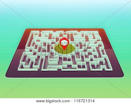 Maze Strategy Success Solution Determination Direction Concept