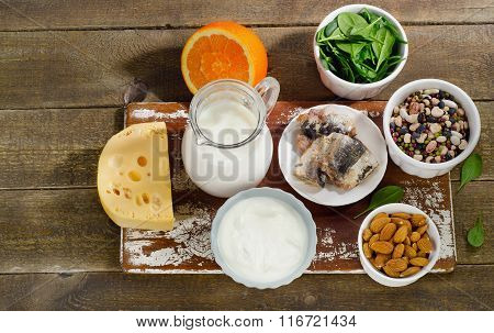 Foods Highest In Calcium On Wooden Table.
