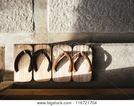 Japan Traditional Footwear Zori On Cement Floor Top View