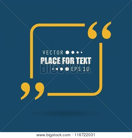 Abstract concept vector empty speech square quote text bubble with commas. For web and mobile app is
