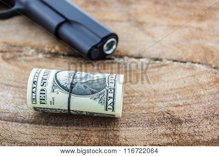 Close Up Money With Gun