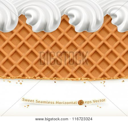 Waffles and ice cream, horizontal seamless vector pattern