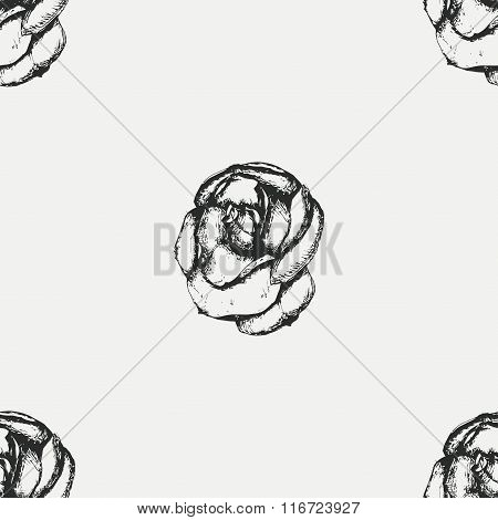 Vintage black and white rose pattern