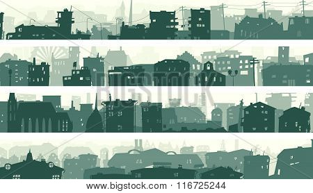 Cartoon Horizontal Banners Of Town Roofs.