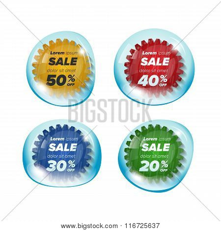 Summer sale circle stickers in a bubble