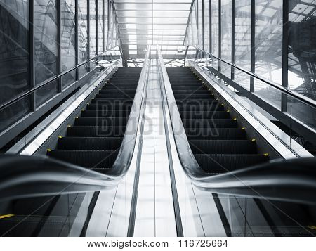 Escalator Perspective In Public Building Business Travel Background