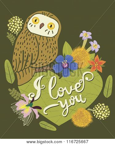 Vintage Greeting Card With Cute Owl. Heart And Floral Wreath. Beautiful Background. Can Be Used As Greeting Card, Romantic Invitation Design. I Love You. Words Lettering. Vector Illustration.