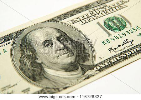 Portrait Image Of 100 Us Dollars