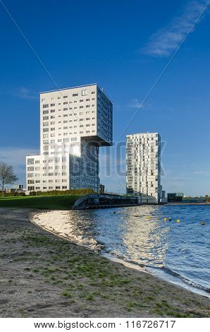 Almere, Netherlands - May 5, 2015: Skyline Apartment Buildings Of Almere