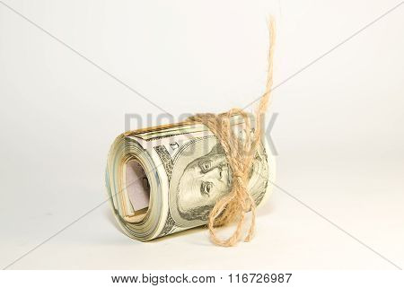Bundle Of Us Dollars Banknotes On Over White