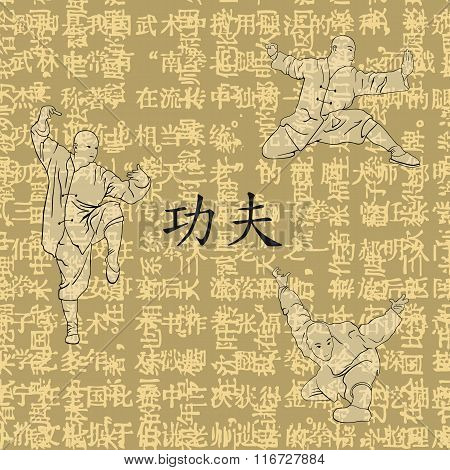 Illustration, Three Men Are Occupied With A Kung Fu.