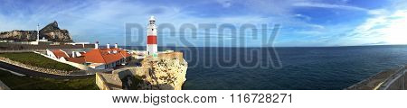 background panoramic view of Gibraltar Point Lighthouse Europa Point and the Atlantic Ocean