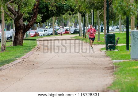 Man Jogging On The Iconic 'tan' In Melbourne