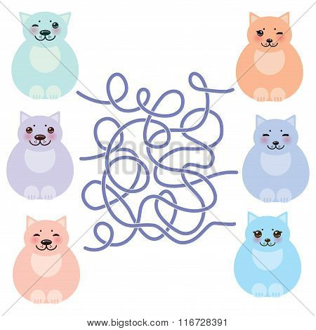 set sitting funny fat cats, pastel colors on white background. labyrinth game for Preschool Children