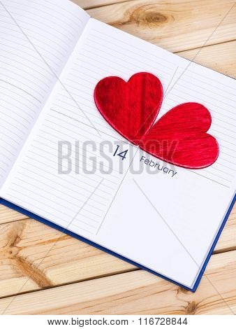 Valentines Day Theme. Hearts On Calendar.