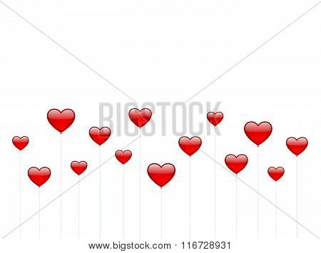 Heart Balloons on white background