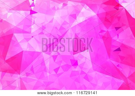 Pink Geometric Rumpled Triangular Low Poly Origami Style Gradient Illustration Graphic Background.