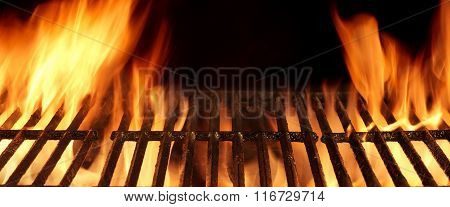 Empty Hot Flaming Charcoal Barbecue Grill With Bright Flame Isolated