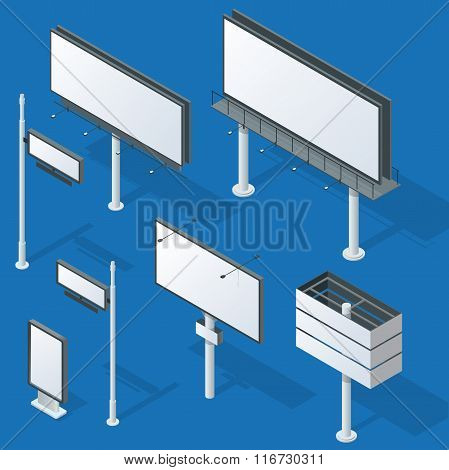 Billboards, advertise billboards, city light billboard. Flat 3d isometric vector illustration for in