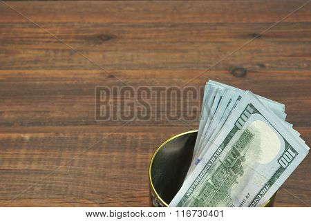 American One Hundred Dollar Bills In The  Tin Can