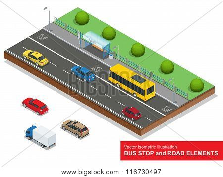 Bus stop. Set of the isometric bus, sedan, taxi, cargo, mini and bus stop.