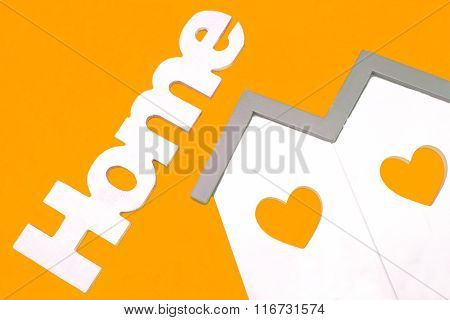 House Model With Windows Heart And White Sign Home Isolated