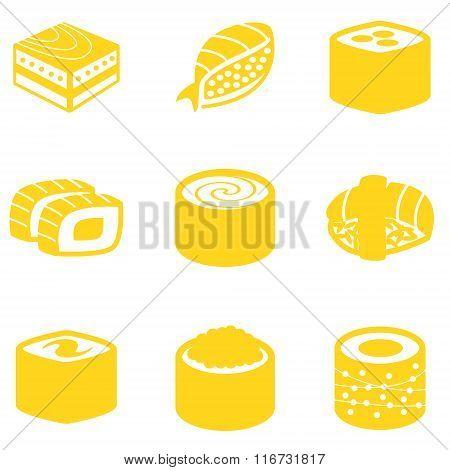 Orange sushi icon set