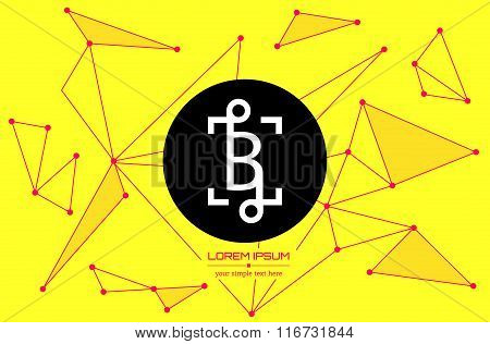 Abstract concept creative vector letter B. Colorful app logo icon element isolated on background. Ar