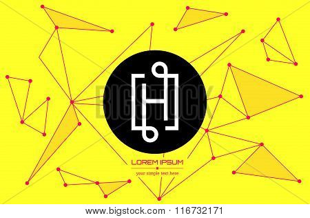 Abstract concept creative vector letter H. Colorful app logo icon element isolated on background. Ar