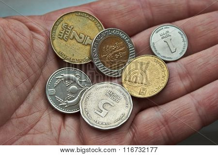 Small Metal Coin In The Palm .