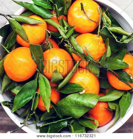 Fresh Mandarine Tangerine Clementines In White Bowl Over Wooden Table Top View
