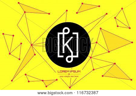 Abstract concept creative vector letter K. Colorful app logo icon element isolated on background. Ar
