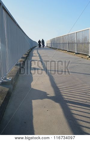 Bridge with metal fence