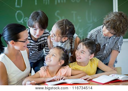 Pupils and teacher in classroom