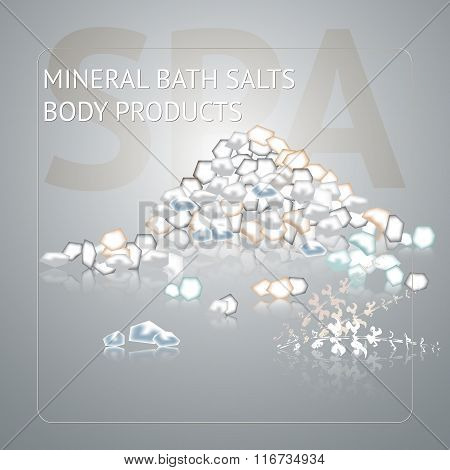 Spa background with sea salt on grey background.
