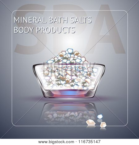 Spa background with sea salt in glass bowl.