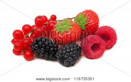 Pile Of Different Garden Berries On White Background