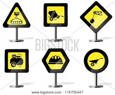 Building equipment on the road sign