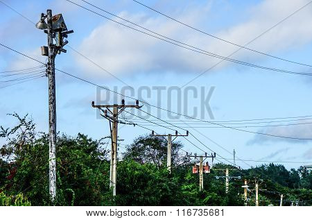 Power Poles With Many Wires
