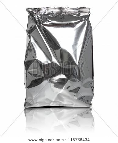 Foil Package Bag Isolated On White Background