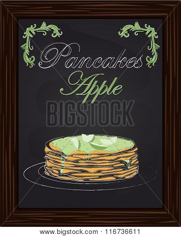 Pancakes With Apple On A Plate