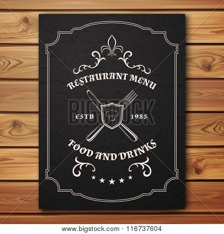 Vintage restaurant or cafe menu template.